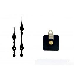 Mécanisme d'horloge AU CHOIX + aiguilles style longues 8.2 et 11.7 cm