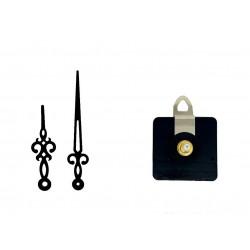 Mécanisme d'horloge AU CHOIX + aiguilles rétro 7.1 et 10.1cm