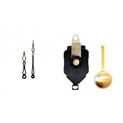 Mécanisme d'horloge à balancier + aiguilles ART DECO 6.8 et 10cm DIY
