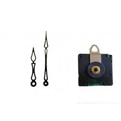 Mécanisme d'horloge radiopiloté + aiguilles Art Déco 6.8 et 10cm