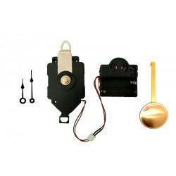 Mécanisme d'horloge à balancier + sonnerie + aiguilles poire très courtes 4.1 et 5.4cm DIY