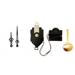 Mécanisme d'horloge à balancier + sonnerie + aiguilles rétro noir 7.1 et 10.1cm DIY