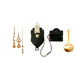 Mécanisme d'horloge à balancier + sonnerie + aiguilles style dorées 6.8 et 9.8cm DIY